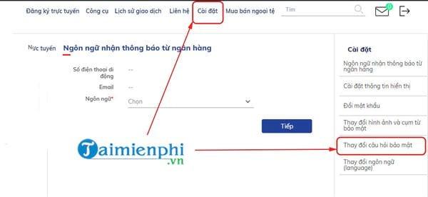 thay doi cau hoi bao mat internet banking bidv 2