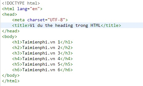 the heading trong html