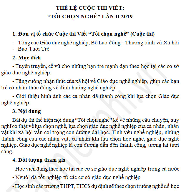 the le cuoc thi toi chon nghe nam 2019 2
