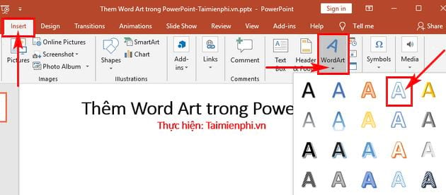 them word art trong powerpoint 2