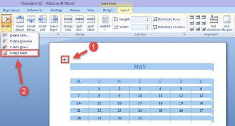 How to clear the table in Word 2007 2010 2013 - Delete table