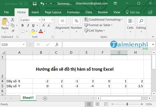 cach ve do thi ham so trong excel
